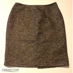 COLDWATER CREEK Cute Brown/Beige Wool Pencil Skirt